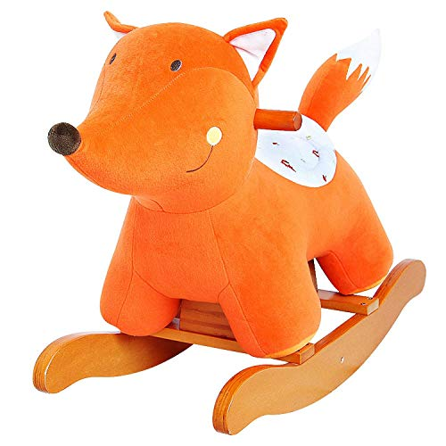 labebe - Baby Rocking Horse, Wooden Baby Rocker, Ride on Toy for 1-3 Year Old, Outdoor&Indoor Ride Along Toy, Plush Rocking Horse for Child, Girl&Boy Birthday Gift - Fox