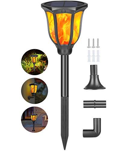 Idealife Luci solari con fiamma tremolante luci a LED impermeabili Illuminazione esterna per giardino Luci decorative da crepuscolo all\'alba Luci del Paesaggio Percorso Campeggio Cortile Cortile Patio