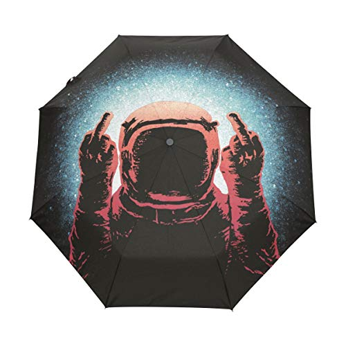 Ainans Middle Finger Spaceman Despise Compact Travel Umbrella, Outdoor Rain Sun Car Folding Umbrellas for Windproof, Reinforced Canopy, UV Protection, Ergonomic Handle, Auto Open/Close