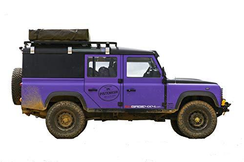 pistenkuh Duftbaum in Form eines Land Rover Defender mit Dachzelt - Duftnote: Frischer Wald - 3 Stück