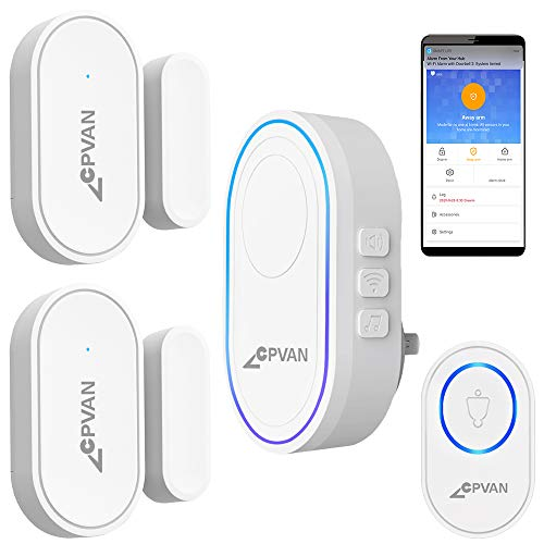 CPVAN WiFi Door Window Alarm, DIY Home Security Protection, No Contract, 1 Base Station, 2 Magnetic Sensors, 1 Doorbell Transmitter Button, Mute/Chime/Alarm, Ideal for Home Kids/Elderly Safety/Garage