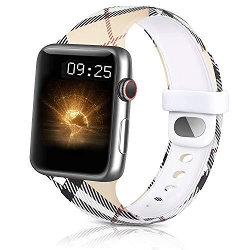 WOOZ Silicone Bracelet Compatible avec Apple Watch 38mm 40mm 42mm 44mm, Bracelet Imprimée Anti-décoloration, Sport Bracelet pour iWatch Series 6 5 4 3 2 1 Se (38/40mm S/M, 02Treillis Motif)