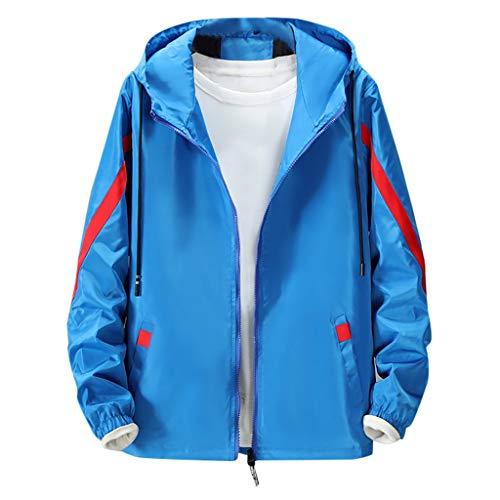 MAYOGO Jacke Herren Allwetterjacke Sport Jacke wasserdichte und Winddichte Windbreaker Light Jacket Übergangsjacke Leichte Streetwear mit Kapuze (Blue, M)