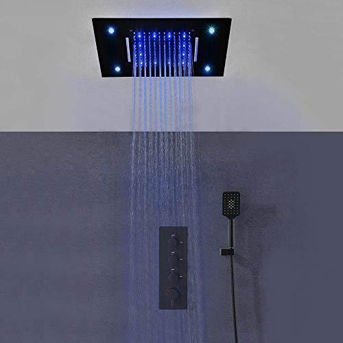 SJIUH Juego de Ducha Juego de Cabezal de Ducha LED de Cascada de Lluvia montada en el Techo de 3 Funciones para baño Sistema de Mezclador termostático