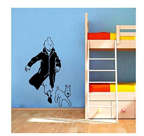 Tintín Con Perro De Dibujos Animados Vinilo Pared Pegatina Habitación Infantil Pared Arte Mural Calcomanías Tintín Vinilo Cartel Pared Arte Decoración38X57 Cm