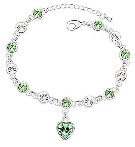 Vrouwelijke armband - vrouw - hart - armband - stenen - hart - verstelbaar - gekleurd - kerst - bedels - zilvergroen - origineel cadeau-idee
