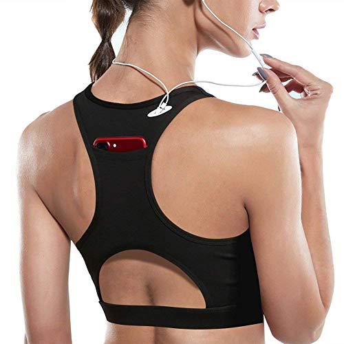 DMYG Sport BH Yoga BH Fitness BH High Impact Back Pocket Sports Bra Racerback Activewear Bras Mit Padded Für Running BH Für Damen Schwarz S