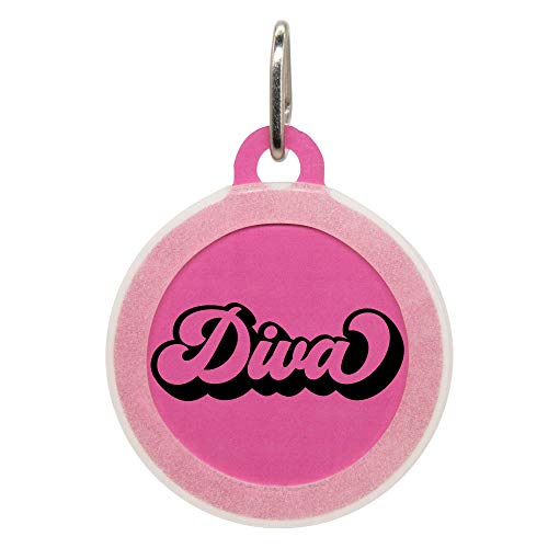 Personalized Diva Pet ID Name Tag with Silencer for Cats or Dogs by Oh My Paw'd