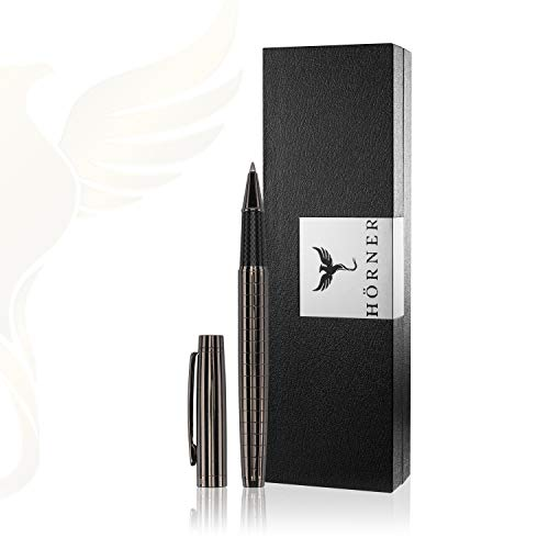 HÖRNER URBAN - Hochwertiger Tintenroller I Schwarz Silber aus Metall I in edler Geschenkbox