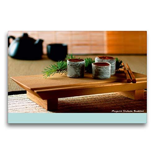 CALVENDO Premium Textil-Leinwand 75 cm x 50 cm Horizontal, Maguro Daikon Sashimi, Wandbild, Imagen sobre Keilrahmen, Fertigbild en verdadera Lienzo, Leinwanddruck Lifestyle Lifestyle