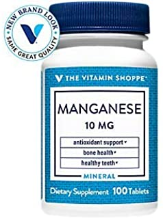 The Vitamin Shoppe Manganese 10MG, Antioxidant Supplement That Supports Healthy Bones and Teeth (100 Tablets)
