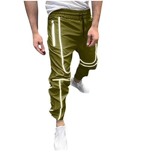 Panty's, joggingbroek, brede broeken, modieus heren, reflecterende high visibility light jogging lange broek Large groen