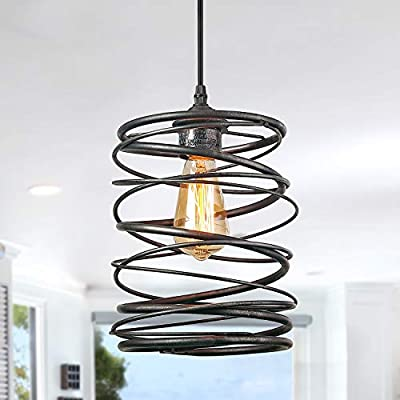 LNC A03292 Pendant Lighting For Kitchen Island?Rustic Farmhouse Brown Rust Cage Hanging Lamp,Black