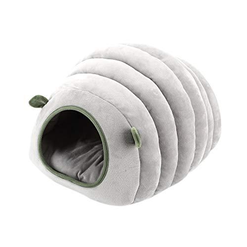 Luntus Linda Casa de Gato Mascota Cama de Perro Perrera de Oruga Cama Suave de AlgodóN de HáMster Cachorro Cueva Cama Caliente para Dormir Invierno Cerrado Nido de Mascotas Gris Claro XS
