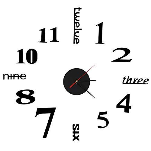 Haudang Reloj de pared 3D con espejo, adhesivo, grande, para decoración del hogar, regalo único, color negro