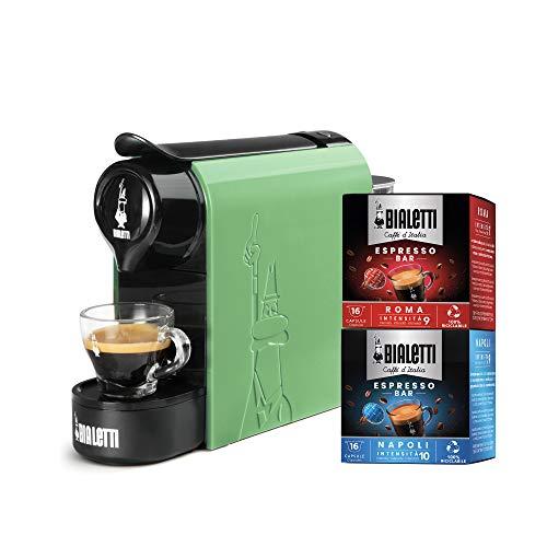 Bialetti Gioia, Macchina da Caffè Espresso per Capsule in Alluminio sistema Bialetti il Caffè d'Italia, Supercompatta, Verde Menta + 32 CAPSULE