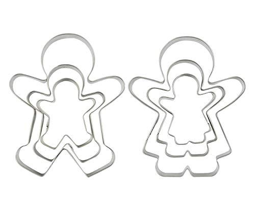 Funny Hombre de Jengibre cortadores de galletas, niño y niña cortador de galletas moldes, juego de 6piezas