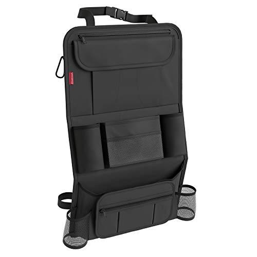 ATHLON TOOLS Autositz-Organizer mit integrierter Tablet-Halterung - Stabile Ecken & Verstärkte Rückwand - Rückenlehnenschutz - Wasserabweisend - Farbe: Neutral Schwarz