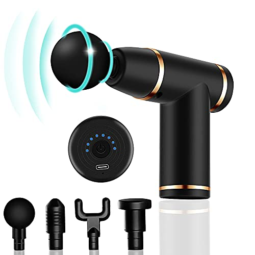 Mini Massage Gun Portable Deep Tissue Massage Gun for Athletes Fascial Gun for Pain Relief Handheld Electric Percussion Muscle Massager for Gym Office Home Neck Back Body Massager-Black