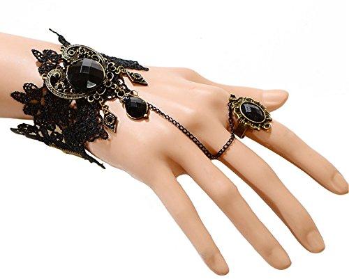 Oblique-Unique Damen Kette Gothic Collier Acryl Spitze Armbänder mit Ring Fußkette Lolita -wählbar (Armband 2)