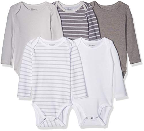 Hanes baby boys Ultimate Flexy 5 Pack Long Sleeve Bodysuits Bodystocking, Grey Stripe, 12-18 Months US