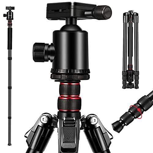 ESDDIPhoto Treppiede 200 cm Alluminio Fotocamera da Viaggio Treppiede Portatile con Monopiede e Testa a Sfera a 360 ° per Fotocamera Reflex Digitale Canon Nikon Sony GoPro