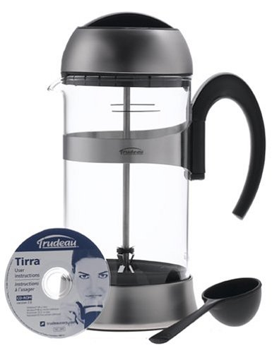 Trudeau Tirra Coffee Press 32 Ounce, Stainless Steel Finish