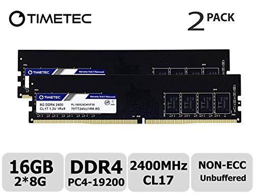 Timetec Hynix IC 16GB Kit (2x8GB) DDR4 2400MHz PC4-19200 Unbuffered Non-ECC 1.2V CL17 1Rx8 Single Rank 288 Pin UDIMM Desktop Memory RAM Module Upgrade (Single Rank 16GB Kit (2x8GB))