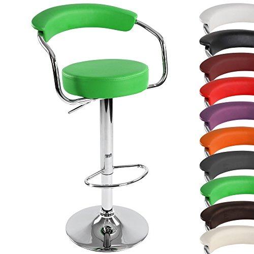 MIADOMODO Taburete de Bar - Ajuste de Altura, Infinitamente, Acero Cromado, Piel sintética, Color a Elegir - Silla para Cocina, Bar
