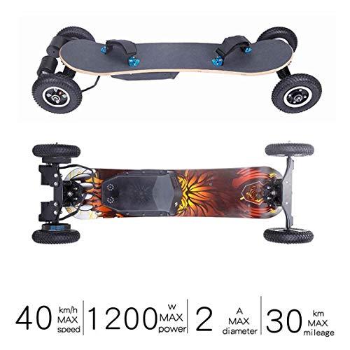 WYZQ 40 Km/H Elektrisches Offroad-Skateboard, Motorisiertes 1200-W-Mountain-Longboard, 7 Schichten, Gelände, 4 Räder, Ferngesteuertes Hochgeschwindigkeits-Board (11-Ah-Batterie)