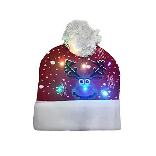 Yajun Gorro de Punto de Navidad de Invierno Sombreros Grueso Cálido de Moda con Luces LED Decoración de Fiesta de Navideños 2 Piezas Beanie de Novedad (Talla Única),Deer