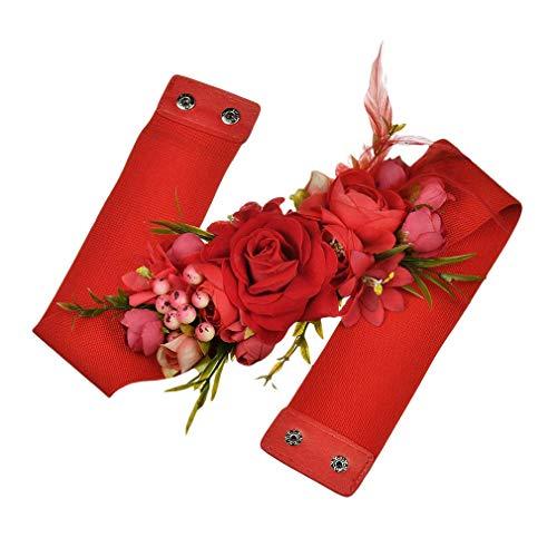 Mcaishen Cinturones De Flores para Mujeres Simulación De Phalaenopsis Cinturones Ultra Anchos Correas Decorativas Dulces Vestidos Y Fajas Accesorios De Vestir.(One Size,Red)