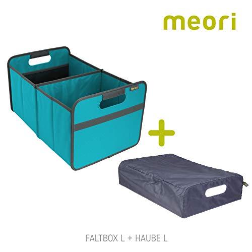 meori Azur Faltbox Large Blau + Haube 32x50x27,5cm stabil abwischbar Polyester Möbel Verstauen Räumen Ordnen Sortierung Schublade Regalbox, Set