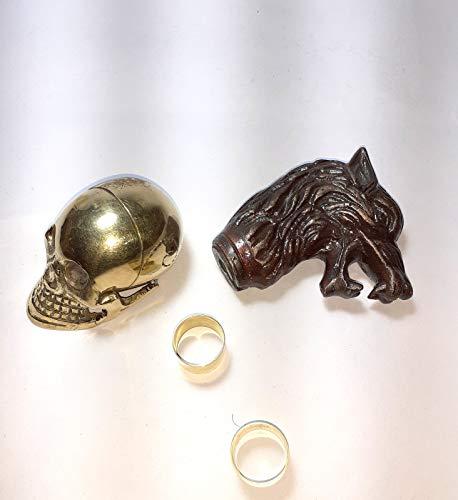 Handgemachter Totenkopf-Knauf aus massivem Messing, Griff mit Lione Hade Griff, Gehstock, brauner Holzschaft, antiker Stil
