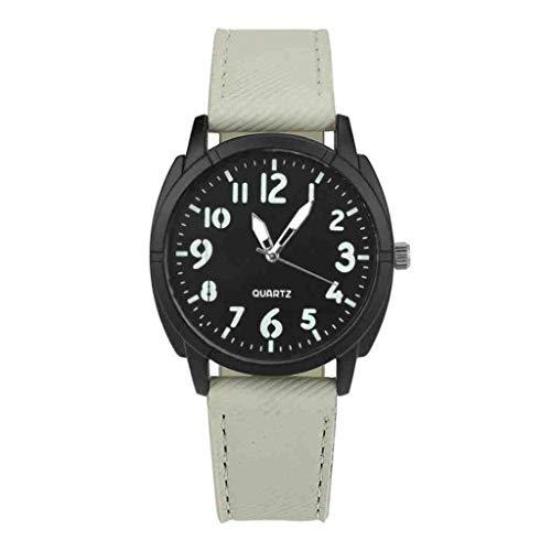 DECTN - Reloj de pulsera para hombre con diseño retro de piel de aleación analógica de cuarzo, deportivo, informal, relojes de pulsera, relojes Mannen, reloj militar, color blanco