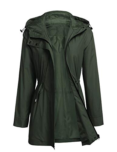 HOTLOOX Women Rain Jacket Waterproof Active Outdoor Trench Raincoat with Hood Lightweight Plus Size (Army Green,Small)