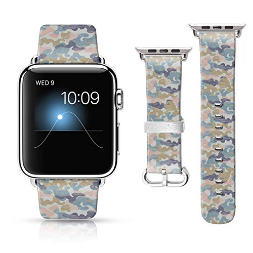 LAACO Leather Band Compatible with iWatch SE Series 6 38mm 40mm, Genuine Leather Fadeless Pattern Printed Vintage Replacement Strap Classic Bands Compatible with iWatch 6/5/4/3/2/1 Blue Camouflage