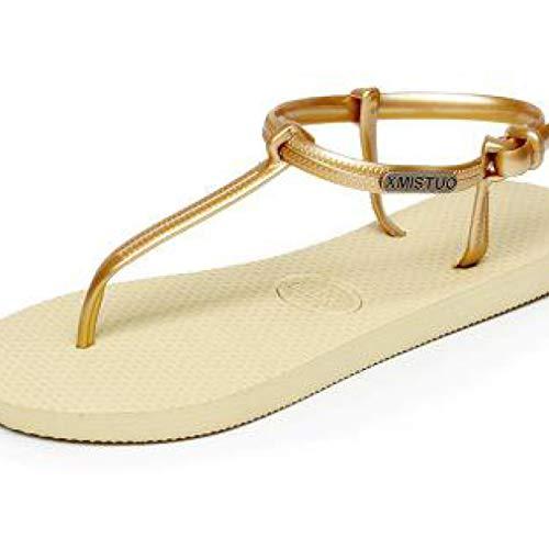 Sandalias de Tiras Planas para Mujer, Casual, para Mujer. Deslizamiento cómodo en Chanclas de Playa con Hebilla de Verano.