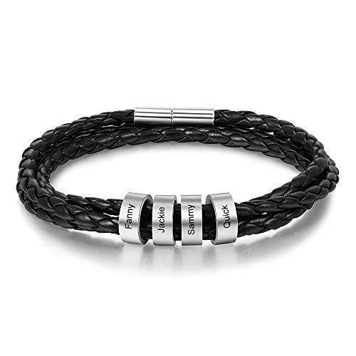 Personalisierte Armband mit 2 to 5 Namen Gravur Geflochtenes Lederarmband Damen BFF Freundschaft Armbänder Geschenk für Valentinstag Geburtstag (schwarz 4 namen, Edelstahl)