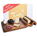 Nest & Nook Cheese Board, Large Charcuterie Board - Real Acacia Wood Trays. For Serving Cheeses,...