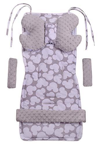 Inserto universal para cochecito Manta para cochecito 5p Protector de cinturón + superposición para diadema Algodón + Minky Medi Partners (Mickey con gris Minky)