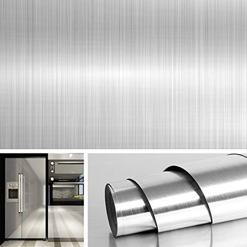 Livelynine Brushed Nickel Vinyl Peel and Stick Wallpaper Decorative Stainless Steel Wall Paper for Countertops Kitchen Cabinets Appliances Dishwasher Fridge Refrigerator Stove Covers 15.8x78.8 Inch