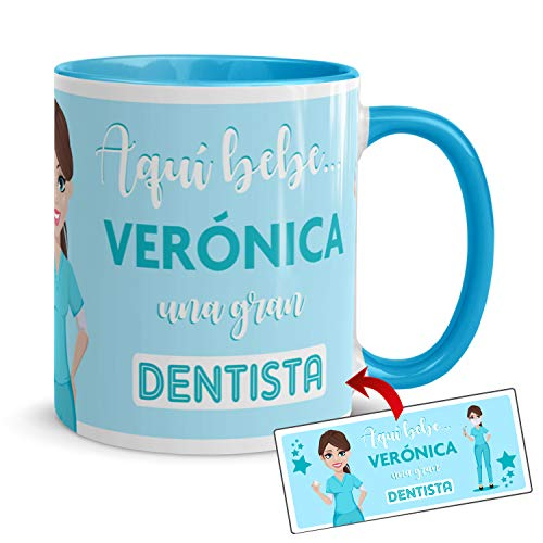 Kembilove Tazas de Café Personalizadas de Profesiones – Taza de Desayuno Aquí Bebe una Gran Dentista con Nombre Personalizado – Tazas de Desayuno para Profesionales – Tazas de 350 ml