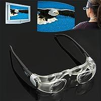 拡大鏡 Sunzi 2.1X近視の人々のためのTV拡大メガネ(視野の範囲:0から-300度)(黒)