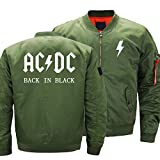 rgbh Uomo Giacca ACDC Band Giacche Classic Vintage Scooter Giacca con Multi Tasche Impermeabili Cappotti Lightweight Baseball Outwear B-Medium