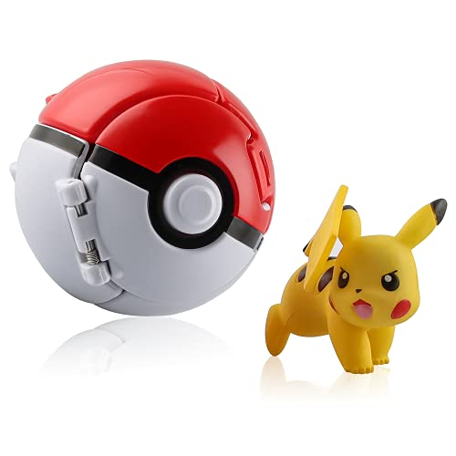 Esportic Poké Ball, Pokeball, Pokémon Poké Ball, Jeux Boule Pokemon, Pokéball avec Jeu de Balle Action Figure Figure Toy Set pour Enfants (Pikachu)