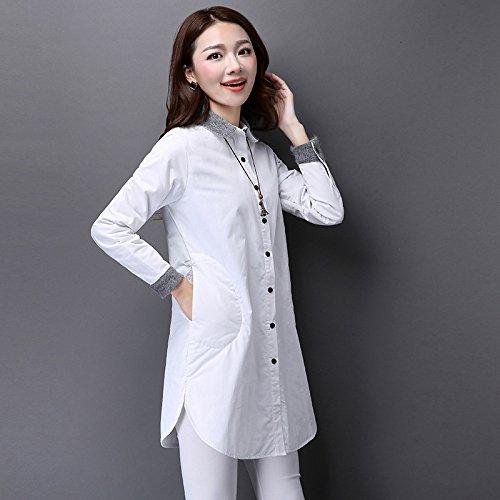 Mayihang Blusa Camisa Camiseta Mujer Blusa Holgada de Solapa en la Primavera - Larga Camisa Blanca,Blanca,M: Amazon.es: Deportes y aire libre
