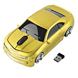 FIRSTMEMORY Wireless Car Mouse 2.4G Cool Sport Car Shaped Mouse Wireless Optical Mouse Cordless Computer Mice 1600 DPI with USB Receiver for PC Laptop Desktop Mac (Yellow)