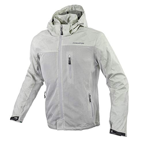 Komine JK-114 Protective Mesh Hoodie for Motorcycles, Silver Camo, Large, For Spring, Summer and Autumn, CE Standards Level 2, Mesh Material