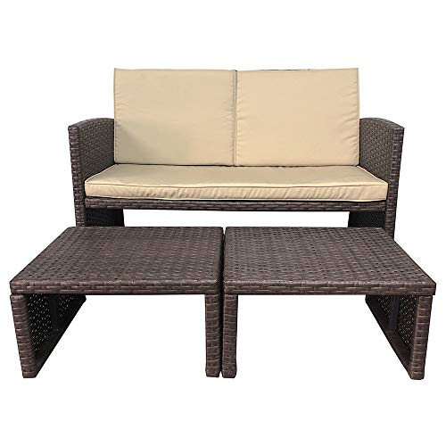 OC Orange-Casual 3 Piece Patio Furniture Set Outdoor Conversation Set All-Weather Wicker Loveseat with Ottoman/Side Table, Brown Rattan, Beige Cushion